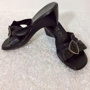 """Italian Shoemaker Sandal 2"""" Heel Slip On Black"""
